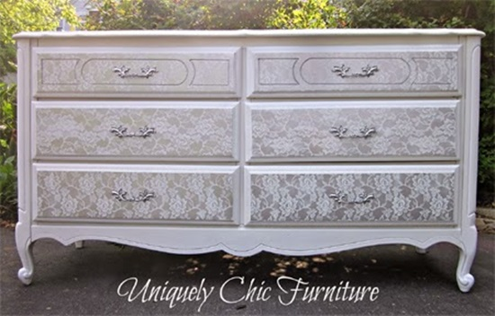 DIY Fefurbish Old Furniture with Lace and Spray Paint