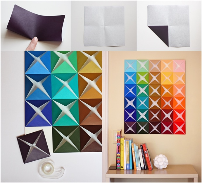 Easy Diy Wall Decor Ideas : Diy easy folded paper wall art