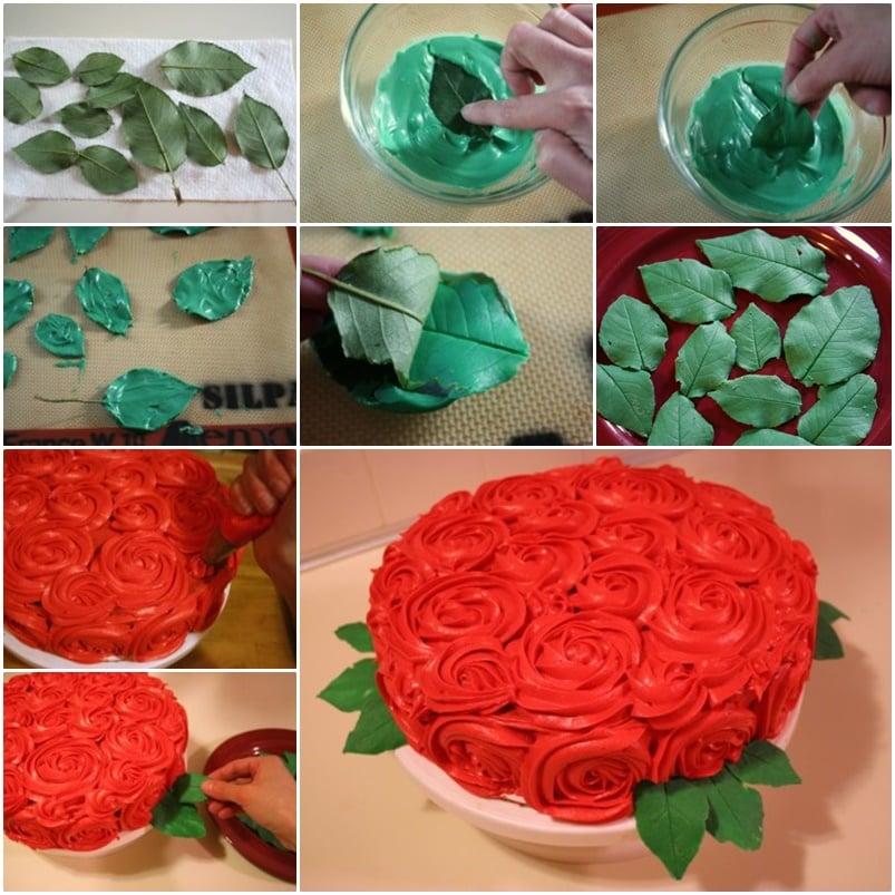 Cake Decoration With Rose : DIY Leaf for Rose Cake Decoration