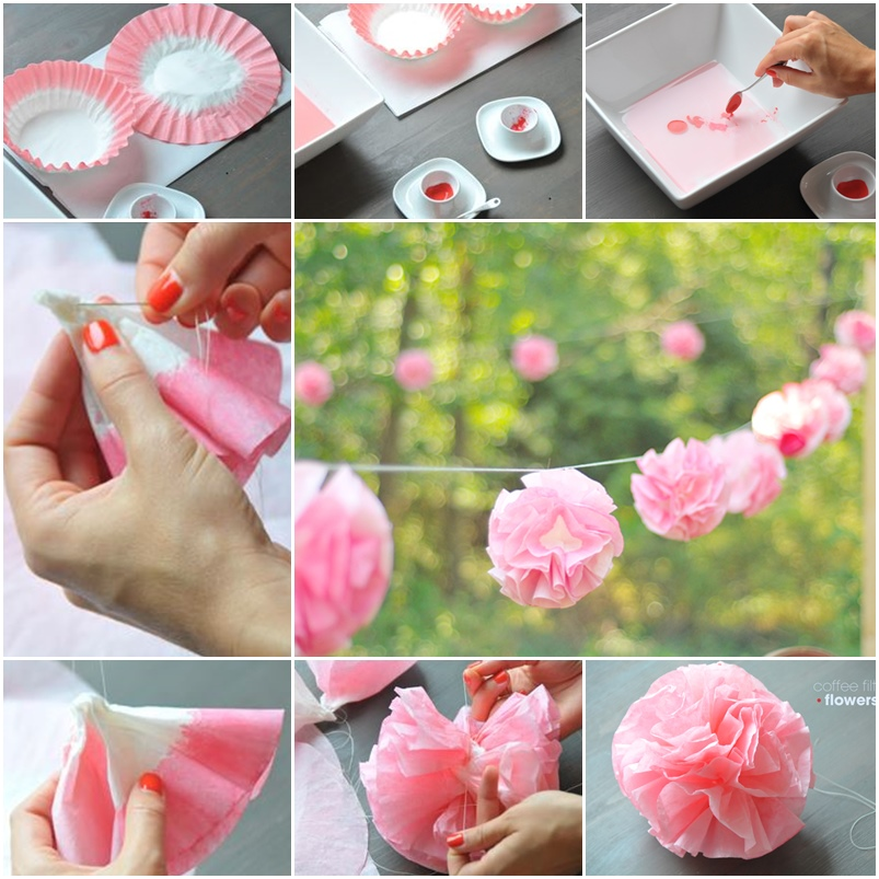 Diy Party Flower Garland Out Of Coffee Filter