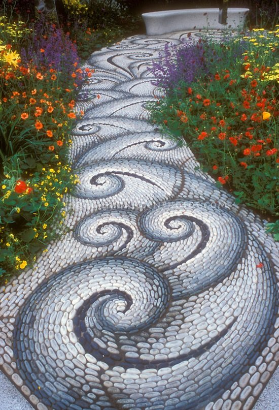 Swirling sinuous stone garden pathway