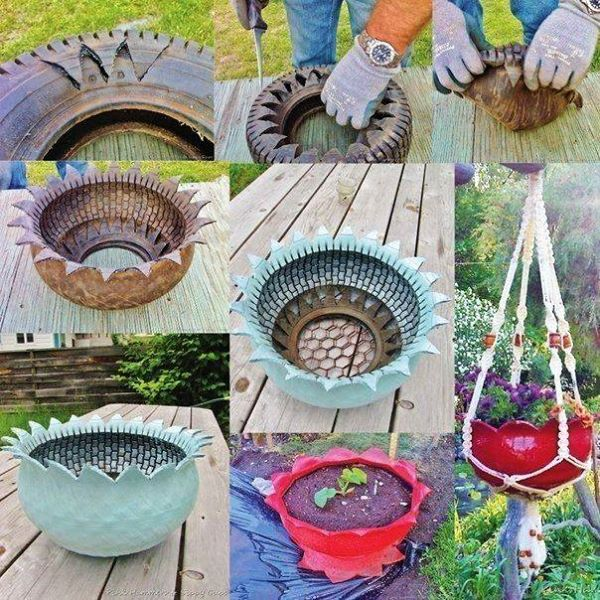 cool creativity diy recycled tire flower planter
