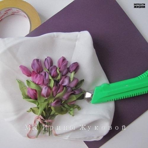Cool creativity — diy ribbon embroidery tulip