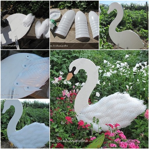Diy swan garden decorations using plastic bottles for Garden decoration with waste material