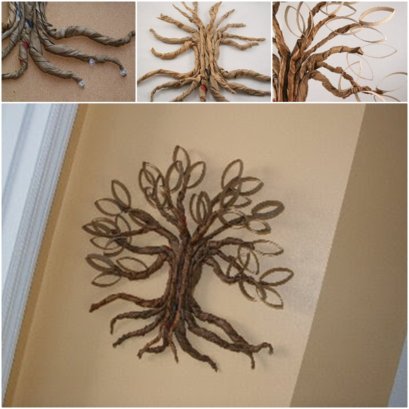 Diy Wall Decor With Toilet Paper Rolls : Cool creativity diy toilet paper roll twisted oak tree