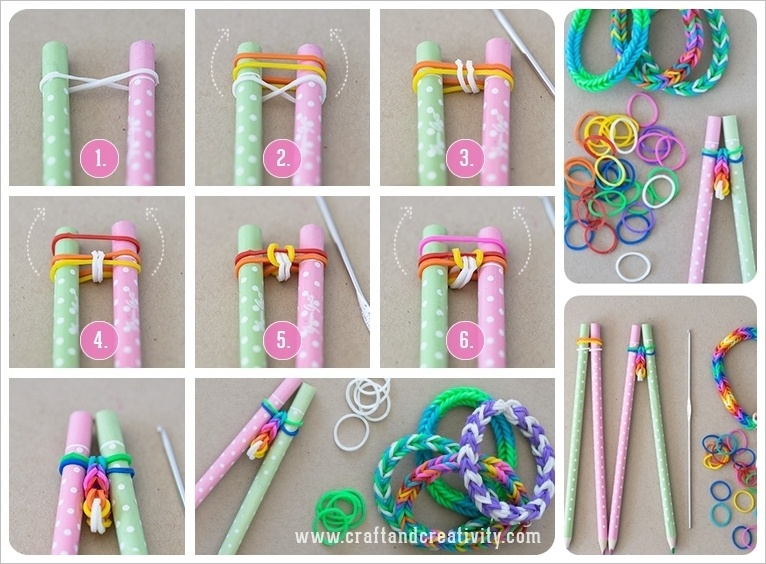 DIY Cool Rubber Band Bracelet with Pencils