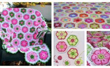 DIY Crochet African Flower Blanket Free Pattern
