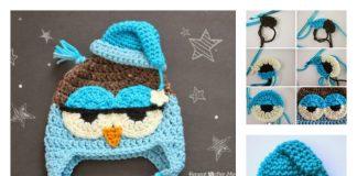 DIY Crochet Cute Drowsy Owl Hat