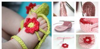 DIY Crochet Flower Power Baby Sandals