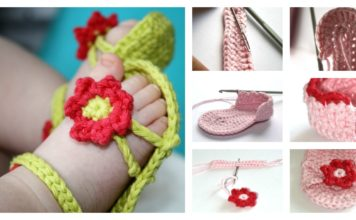 DIY Crochet Flower Power Baby Sandals