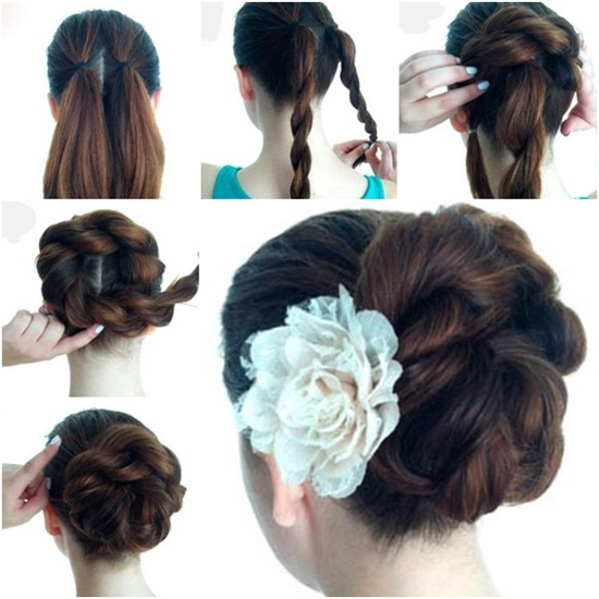 Diy double rope braid bun hairstyle Diy fashion of hairstyle