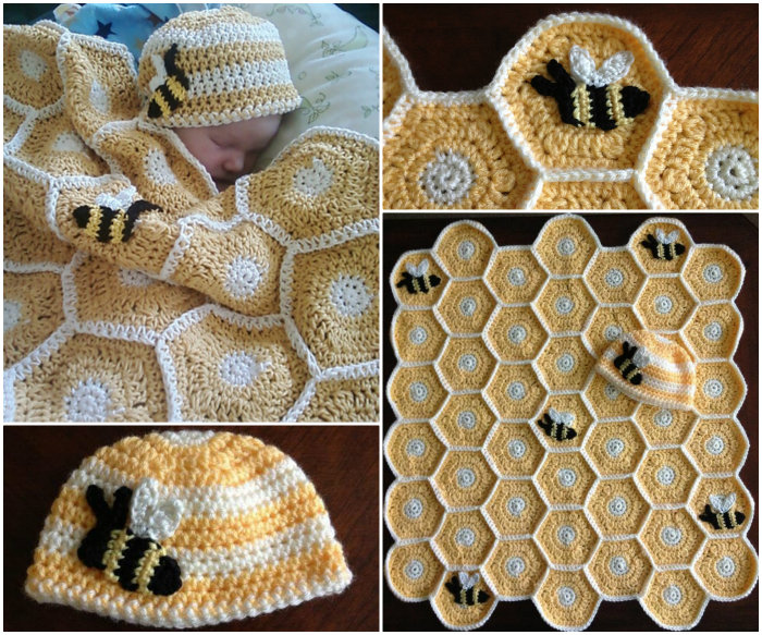 DIY Sweet As Honey Baby Blanket and Hat Set. Bee Applique