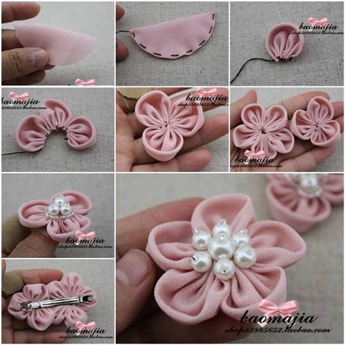 DIY nice fabric flower hair clip-00-00