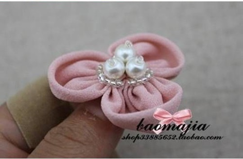DIY nice fabric flower hair clip-00-07