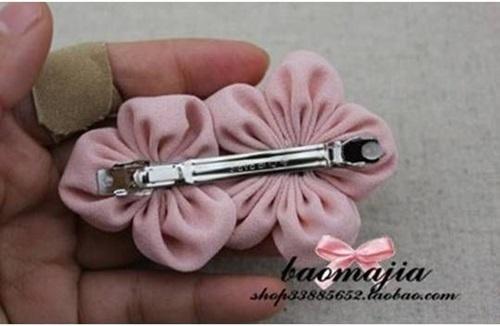 DIY nice fabric flower hair clip-00-08