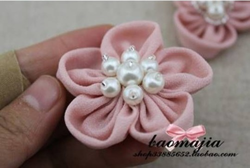 DIY nice fabric flower hair clip-00-09