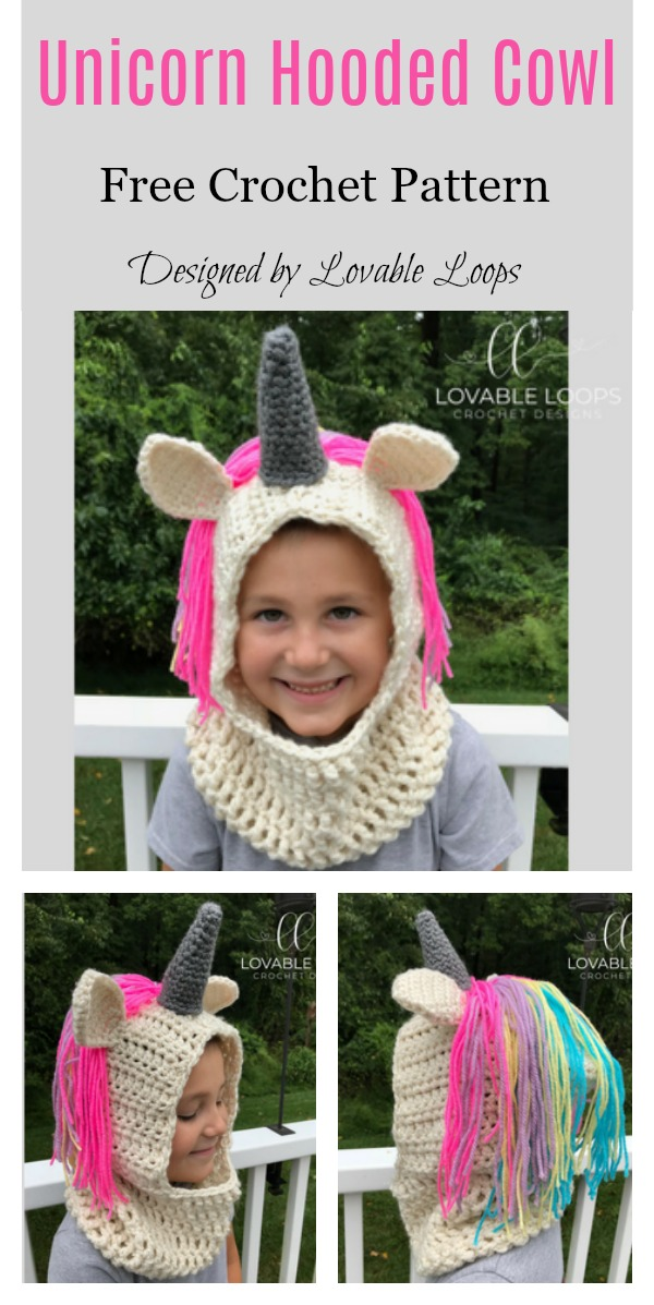 Unicorn Hooded Cowl Free Crochet Pattern
