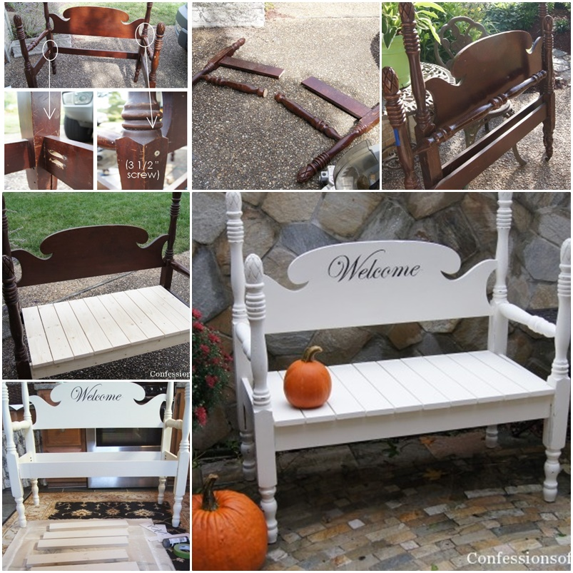DIY Lovely Bench from Old Furniture