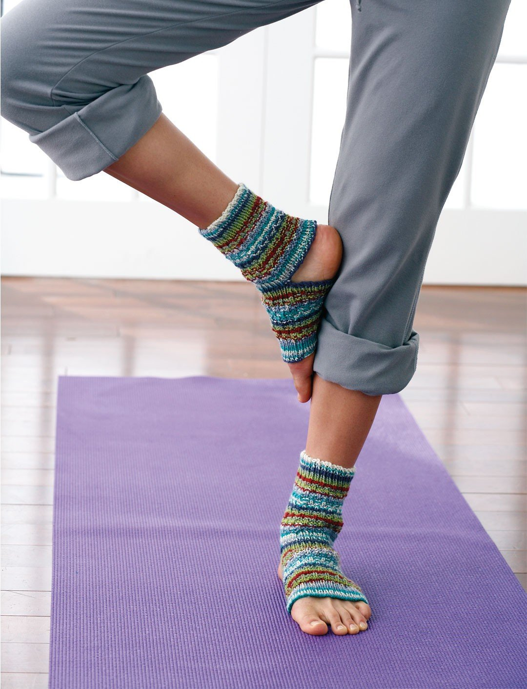 Yoga Socks Free Knit Pattern - Cool Creativities