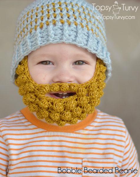 Free Crochet Pattern Bobble Hat : DIY Cute Crochet Bobble Beard Beanies