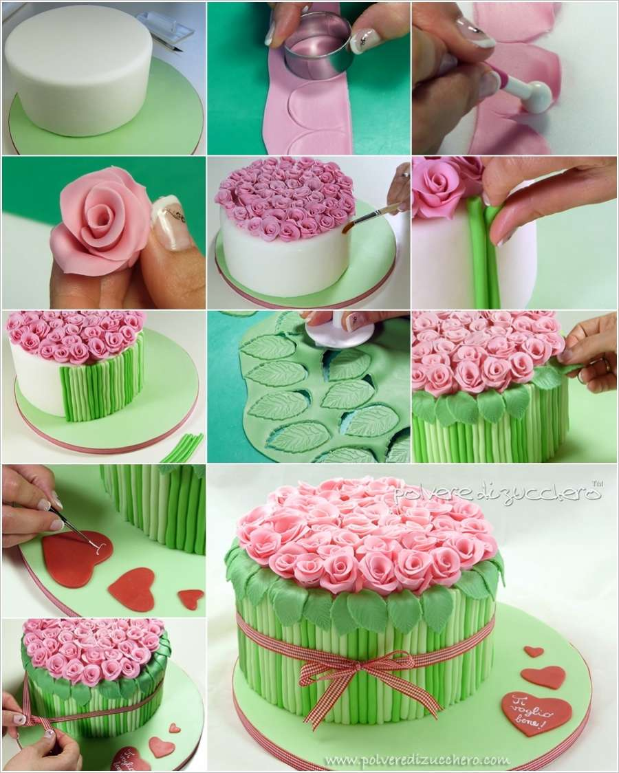 Diy awesome bouquet of roses cake decor for Art cake decoration