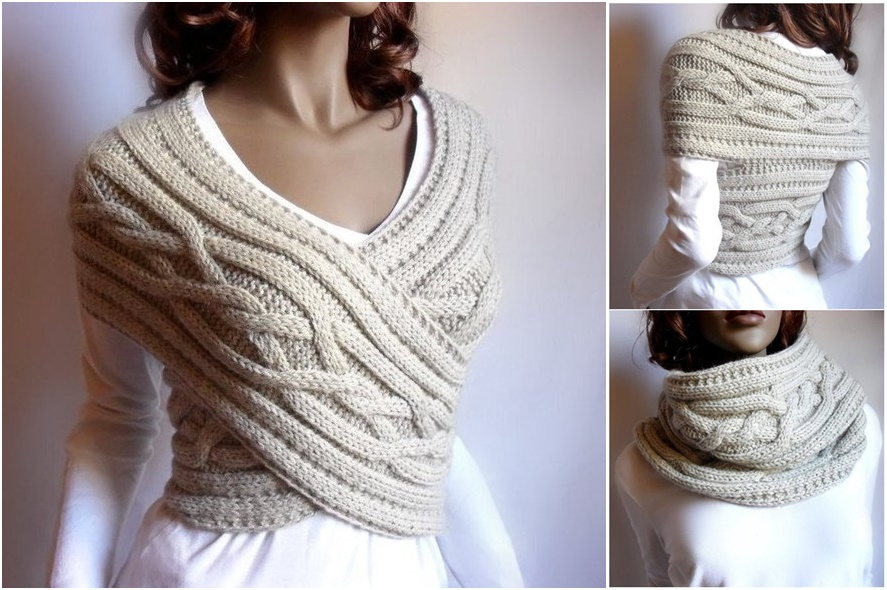 DIY Chic Cable Knit Cowl and Sweater in One