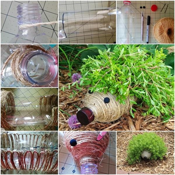 Diy cute hedgehog planter from plastic bottle - Plastic bottles recycling ideas boundless imagination ...