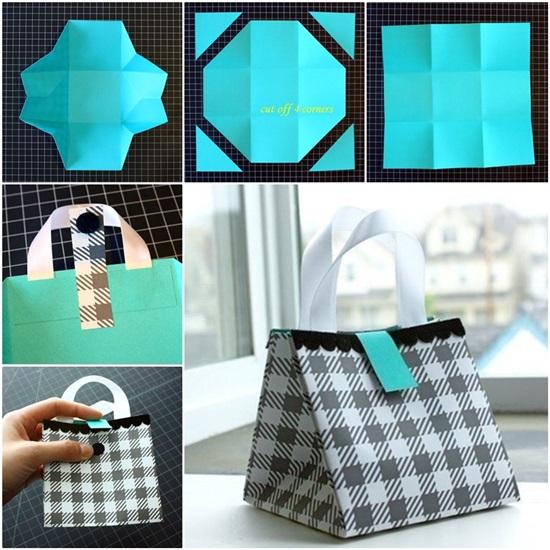 diy folded paper gift bag
