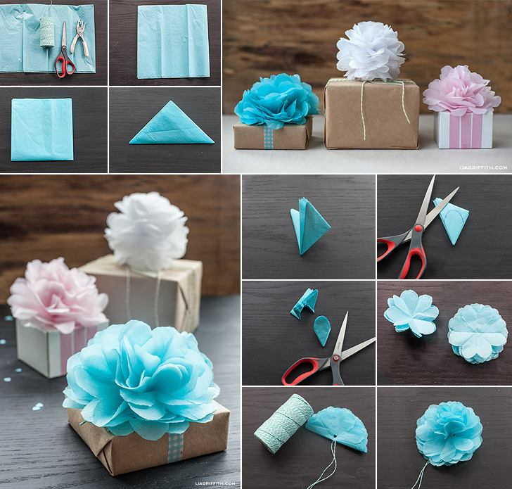 DIY Mini Tissue Paper Pom Pom Flower Gift Toppers