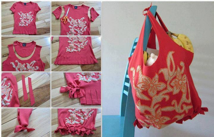 Diy no sew t shirt tote for 10 minute table runner 30 minute tote bag