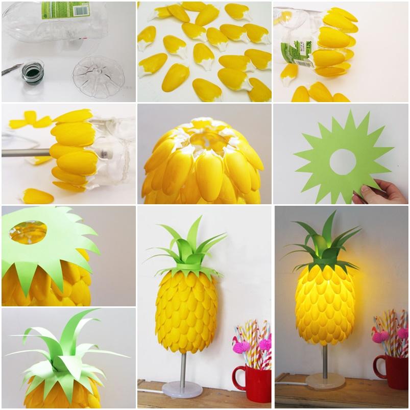 DIY Pineapple Lamp Using Plastic Spoons