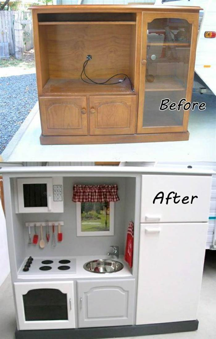 DIY Play Kitchen Repurposed From an Old Furniture