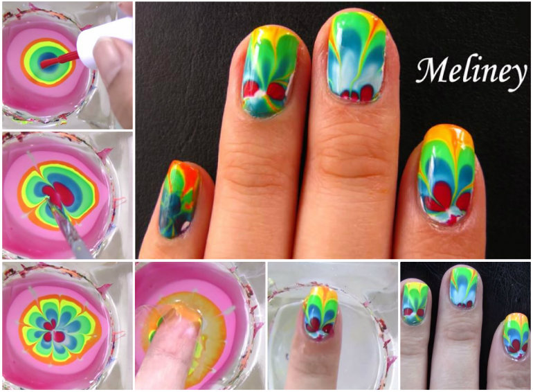 DIY Rainbow Marble Nail Art For Beginner