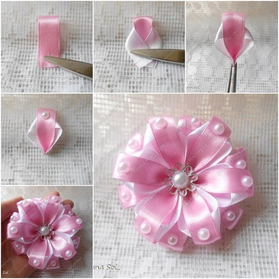 DIY Two-tone Ribbon Flower