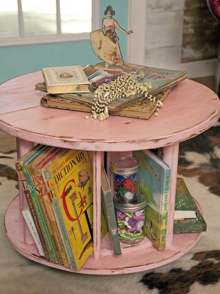 wooden-spool-turned-craft-storage-table