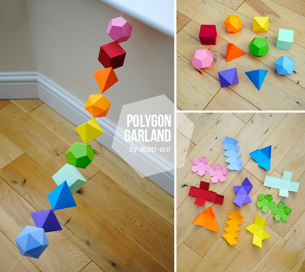 Diy colorful geometric platonic solids garland for Diy paper crafts tutorials