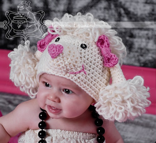 Animal Hat Crochet Patterns-Paris the Poodle hat