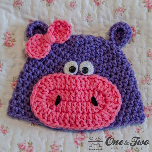 Animal Hat Crochet Patterns-frog-hippo
