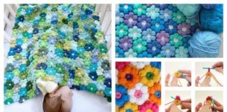 Petal Puff Stitch Flower Blanket