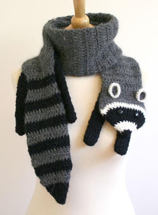 DIY Crochet Fashion Raccoon Scarf