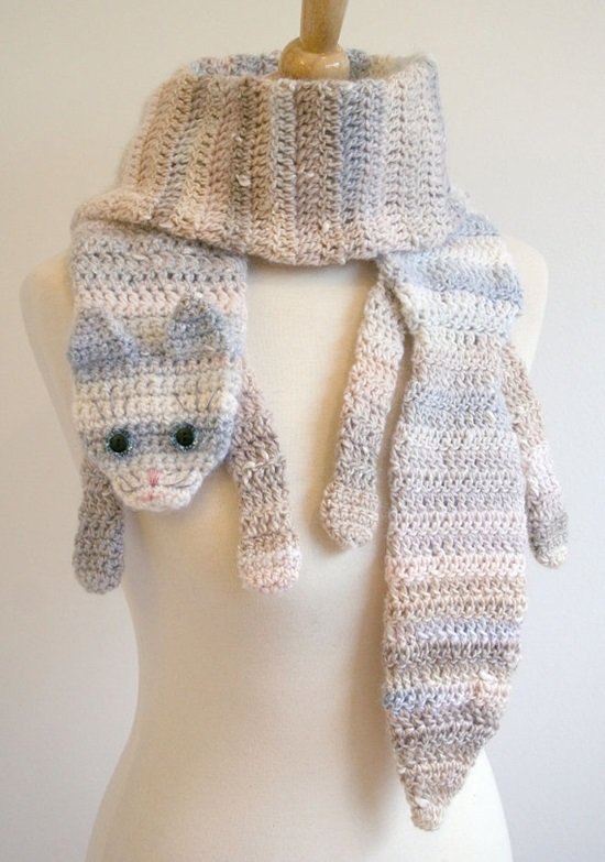 DIY Crochet Fashion Calico Cat Scarf