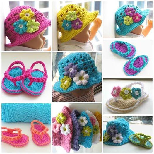 Crochet Flip Flops and Hats