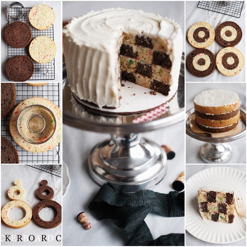 DIY Checkerboard Birthday Cake