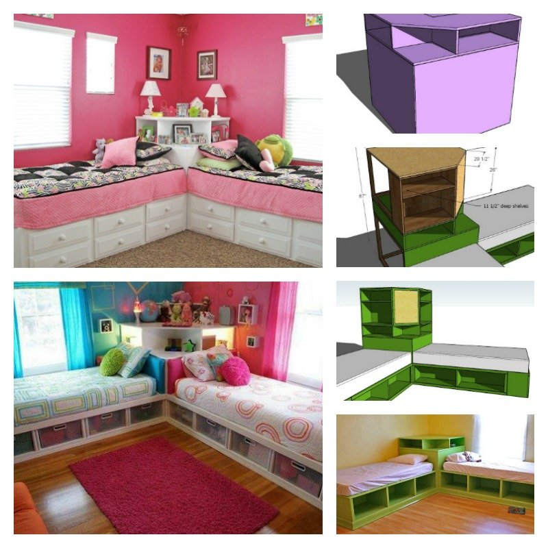 diy corner unit for the twin storage bed space saving idea. Black Bedroom Furniture Sets. Home Design Ideas