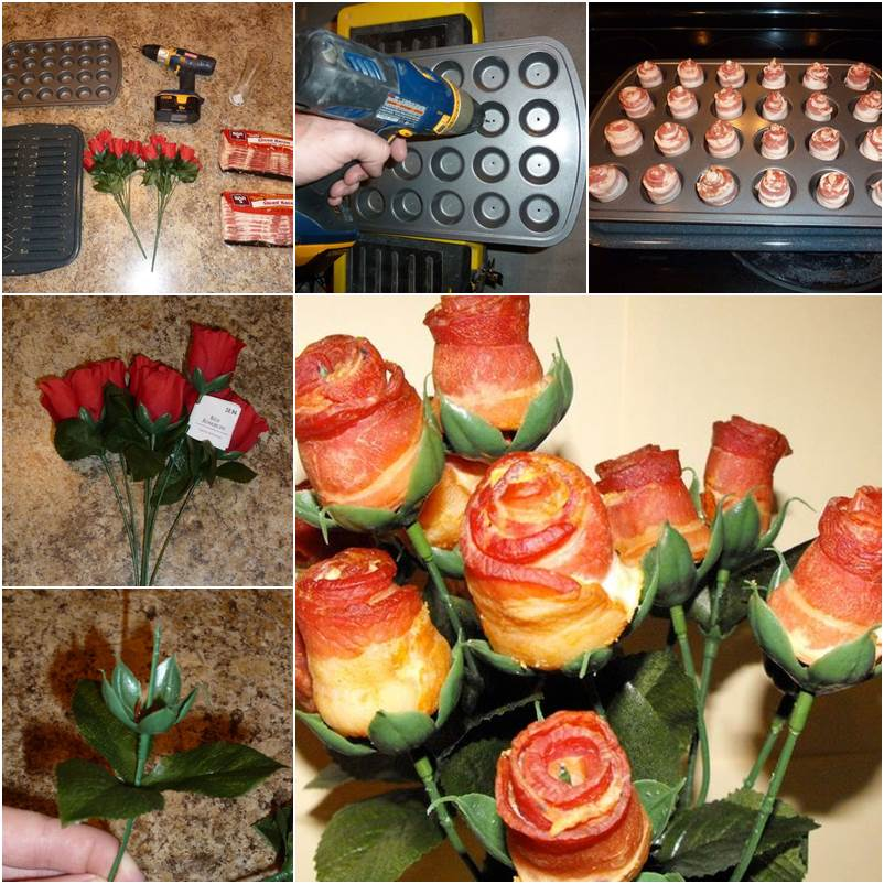 diy creative bacon rose bouquet