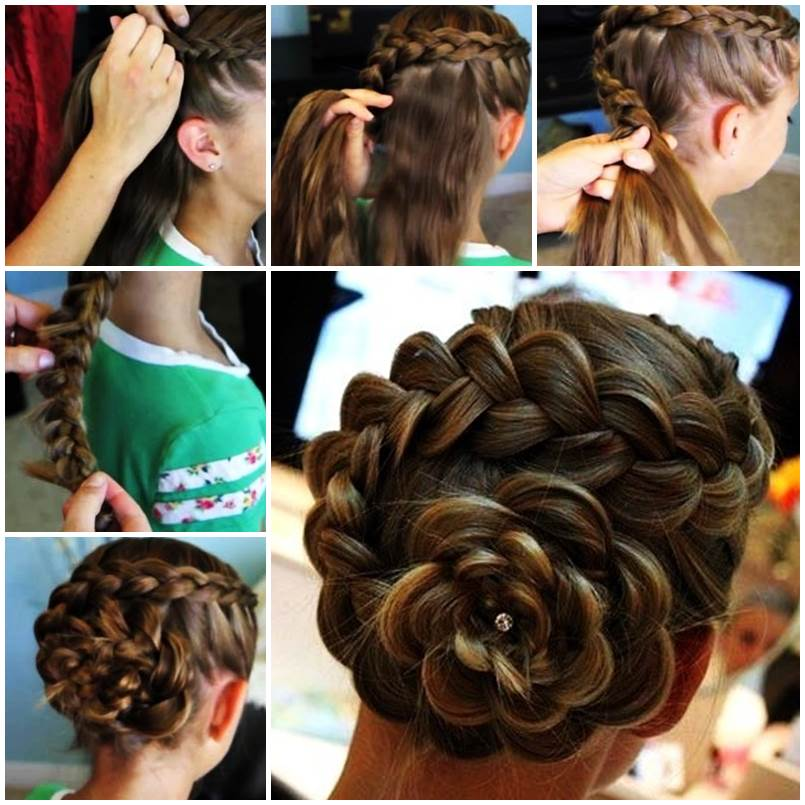DIY Dutch Flower Braid Updo Hairstyle