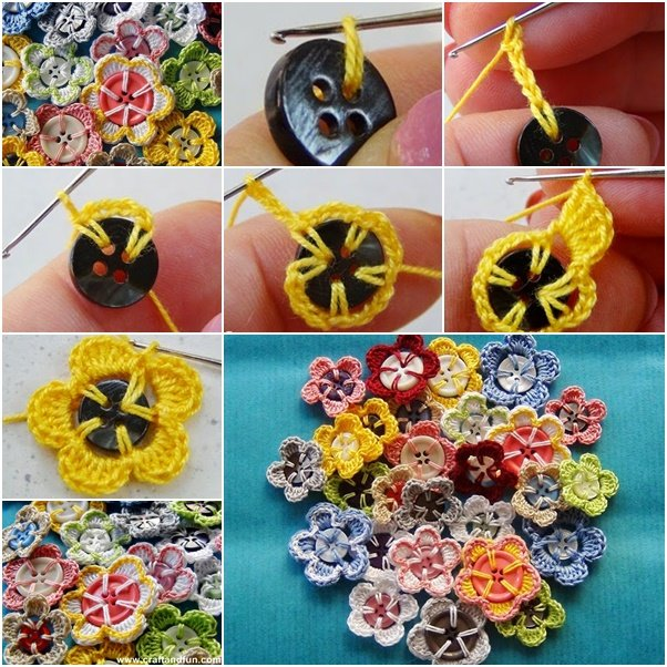 DIY Easy Crochet Button Flowers