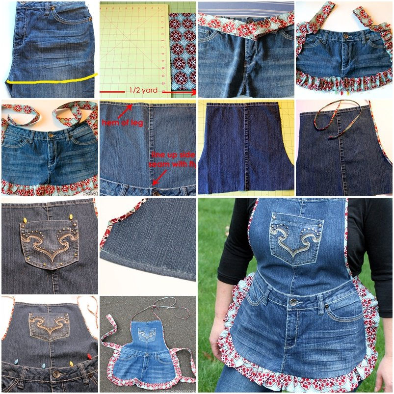 DIY Farm Girl Apron from Recycled Jeans