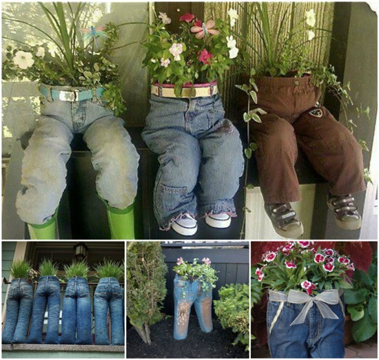 DIY Old Jeans Planters-1
