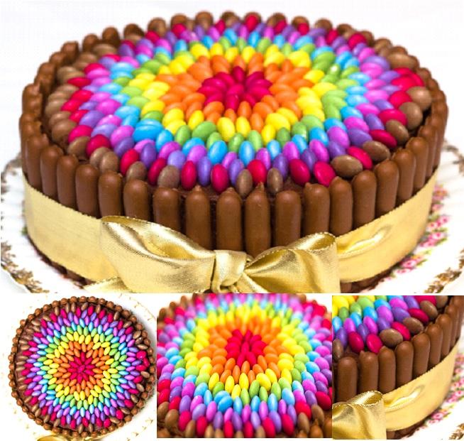 Easy Chocolate Rainbow Smarties Cake